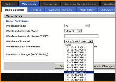 how to change wifi channel on pcc
